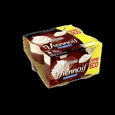 Dessert lacté au chocolat LE VIENNOIS 4x100g Offre Economique