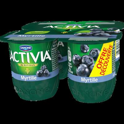 Lait fermenté sucré au bifidus et à la myrtille ACTIVIA, 4x125g
