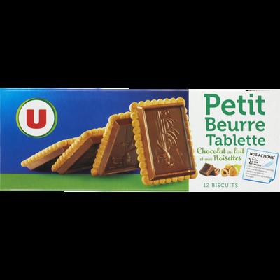 Petit Beurre tablette au chocolat au lait goût noisettes U, paquet de150g