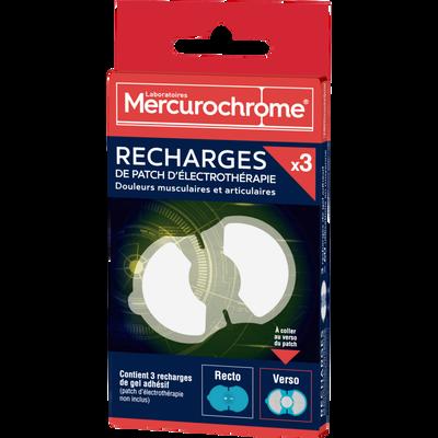 MERCUROCHROME RECHARGES, patch d'électrothérapie, 3 unités