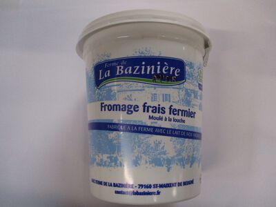 FROMAGE FRAIS FERMIER BLEU BLANC COEUR, LAIT DE VACHE, LA BAZINIERE, 40%MG, POT DE 500G