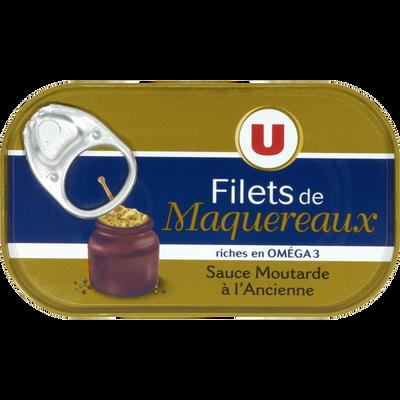 Filets maquereaux moutarde ancienne U, boîte de 113g