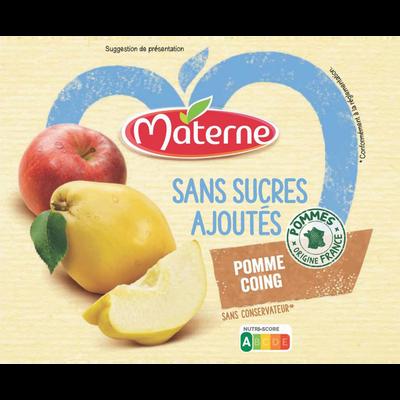 Dessert fruits sans sucre ajouté pomme coing MATERNE, 4x100g