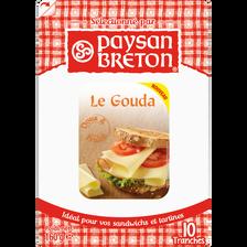 Gouda au lait pasteurisé PAYSAN BRETON,30% de MG, 10 tranchettes, 160g