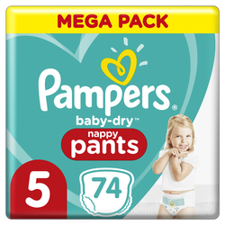 Couches baby dry pants PAMPERS 11-16kg mega taille 5 x74