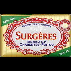 Beurre 1/2 sel AOP Charentes-Poitou SURGERES, 80% de MG, 250g