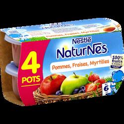 Compote pomme, fraise et myrtilles NATURNES, dès 6 mois, 4x130 g