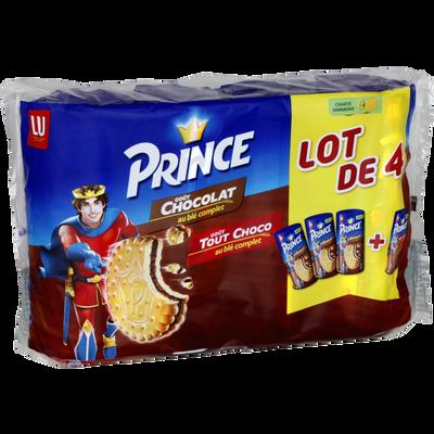 Biscuits prince fourrés au chocolat x3 + 1 tout chocolat LU