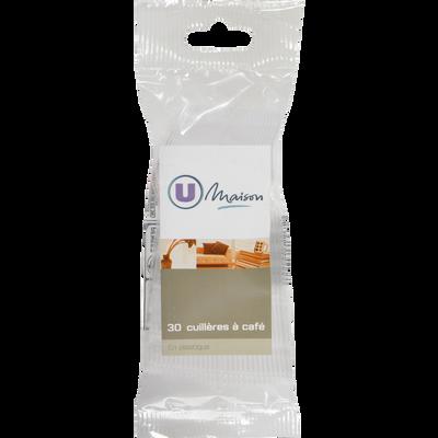 Cuillère à café en plastique U MAISON, transparent, 30 unités