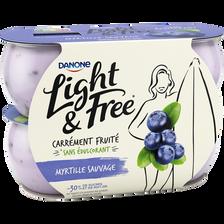 Spécialité laitière sucrée aromatisée à la myrtille LIGHT&FREE, 4x120g