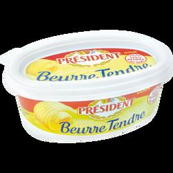 Beurre tendre doux PRESIDENT, 82% de MG, plaquette de 250g