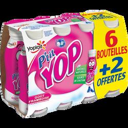 Yaourt à boire framboise P'TIT YOP 6x180g + 2 offerts