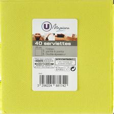 Serviettes U MAISON TEX TOUCH, 25x24cm, vertes, 40 unités
