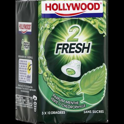 Chewing-gum 2fresh menthe verte sans sucres HOLLYWOOD, 3 boîtes de 66g