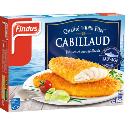 Filets de cabillaud panés FINDUS, 4 unités de 100g