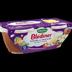 Bols pour bébé ratatouille et petits macaronis BLEDINER, dès 12 mois,2x200g