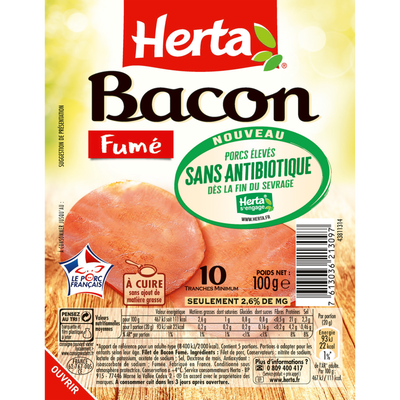 Bacon fumé sans antibiotique HERTA, 10 tranches soit 100g