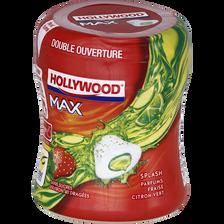 Chewing-gum sans sucre splash fraise-citron vert HOLLYWOOD, max bottle88g