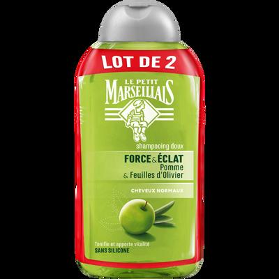 Shampoing pour cheveux normaux parfum pomme olivier LE PETIT MARSEILLAIS, 2 flacons de 250ml
