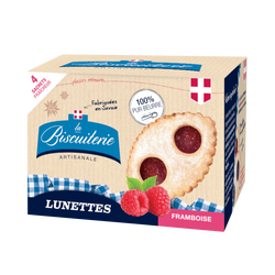 Biscuits lunettes framboise LA BISCUITERIE ARTISANALE, boite 160g