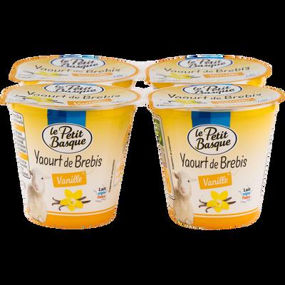 Yaourt de brebis vanille lait pasteurisé, LE PETIT BASQUE, 4x115g
