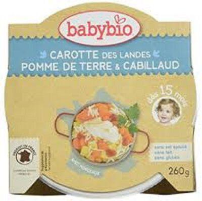 Ass carotte des landes, pomme de terre et cabillaud BABYBIO dès 15 mois 260g
