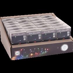 Guirlande de fil d'argent lumineux pour intérieur 40 microledmulticouleurs 2m-espace entre led 5cm-fil conducteur 10cm-fonctionneavec 3 piles AA non incluses
