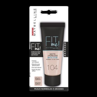 """Fond de teint """"Fit me matte & poreless"""" n°104 ivoire rosé - blister MAYBELLINE"""