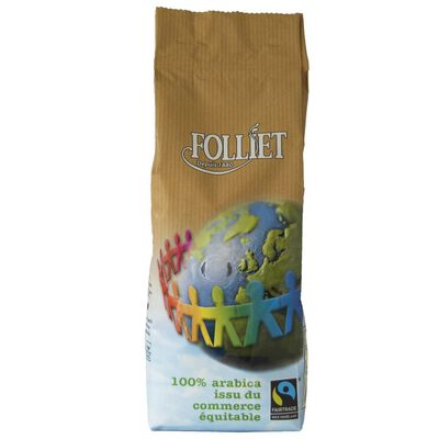 Café moulu commerce équitable arabica FOLLIET, paquet 250g