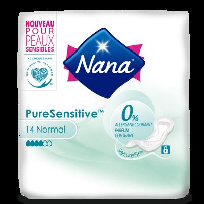 Serviettes pure sensitive normal 0% allergène NANA, x14