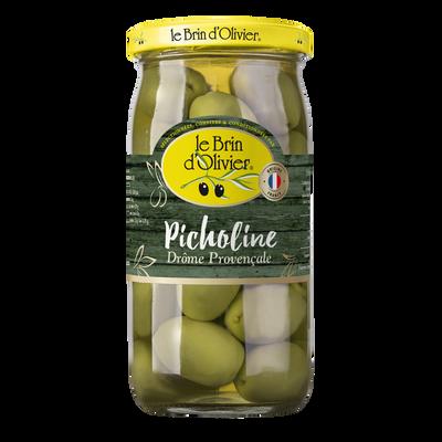 Olives vertes picholine du Gard royale BRIN D'OLIVIER, bocal de 220g