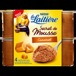 Secret de mousse lactée au caramel et sauce caramel La LAITIERE, 4 unités de 59g