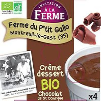 Crème chocolat BIO de ST DOMINGUE (4*100g) Ferme du Ptit Gallo montreuil-le-Gast (35)