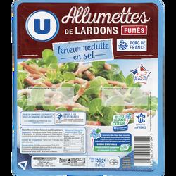Lardons allumettes fumés à teneur réduite en sel réduit et Oméga 3 Viande de Porc Française U 2,75g 150g