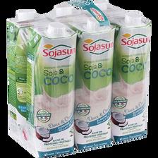 Boisson de soja au lait de coco UHT, SOJASUN, 6 unités de 1L