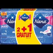 Nana Serviettes Ultra Goodnight Plus Nana, 2 Paquets De 10 + 1 Offert