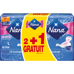 Serviettes ultra goodnight plus NANA, 2 paquets de 10 + 1 offert