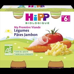 Petit pot bio pour bébé légumes pâtes et jambon HIPP, dès 6 mois, 2x190g