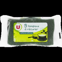 Tampons à récurer verts pour surfaces difficiles U, x5