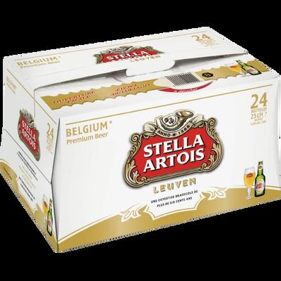 Bière blonde STELLA ARTOIS, 5°, pack de 24x25cl