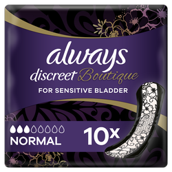 Serviettes hygiéniques discreet boutique ALWAYS normal x10