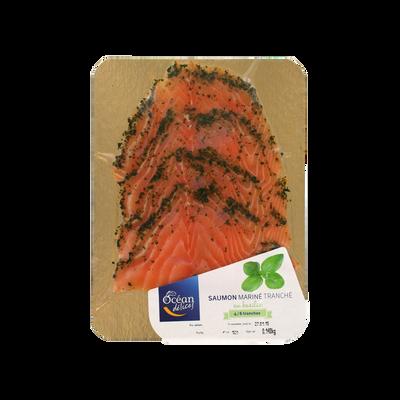 Saumon mariné au basilic 4/6 tranches, transformé en France, barquettede 140g