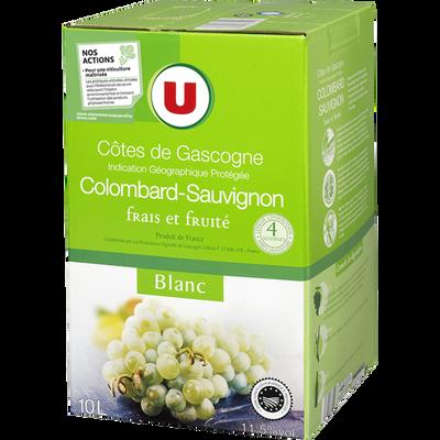 Vin blanc IGP Côtes de Gascogne Colombard Sauvignon U, fontaine à vinde 10l