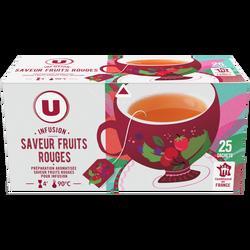 Infusions saveur fruits rouges U, boîte de 25 sachets 40g