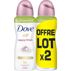 Déodorant compressé beauty finish DOVE, 2x100ml