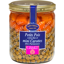 Petits pois extra fins et jeunes carottes parisiennes GILLET CONTRES,260g