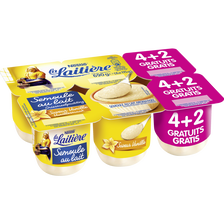 Nestlé Semoule Au Lait Saveur Vanille La Laitiere, 4 Pots De 115g + 2 Pots Offerts