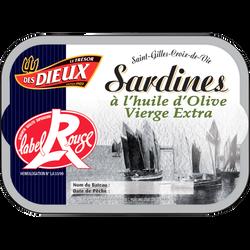 Sardines Label Rouge à l'huile d'olive LES DIEUX, 115g