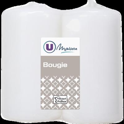 Bougies U MAISON, non parfumées, 48x90mm, blanches, 2 unités