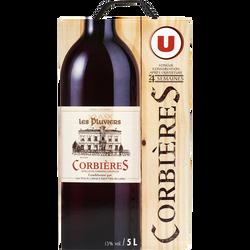 Vin rouge AOP Corbières Les Pluviers U, fontaine à vin de 5l